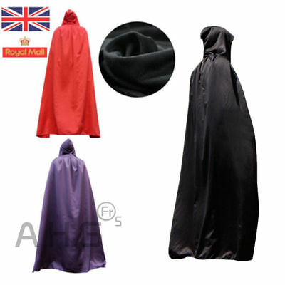 Gothic Hooded Velvet Cloak Robe Medieval Witchcraft Cape World Book Day Costume