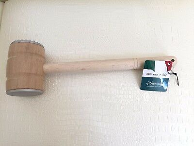New Eppicotispai ITALY Beechwood & Cast Aluminum 2 Faced MEAT TENDERIZER 12.5""