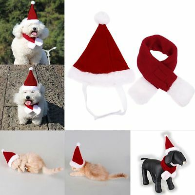 Pet Cat Dog Christmas Santa Hat Scarf Xmas Holiday Costume Decor S/M/L AU