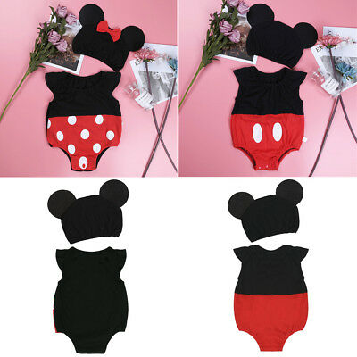 Infant Baby Girl Birthday Romper Bowknot Outfits Party Minnie Mouse Costume Set
