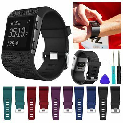 Replacement Silicone Wristband Strap Watch Band with Tools Kit For Fitbit Surge