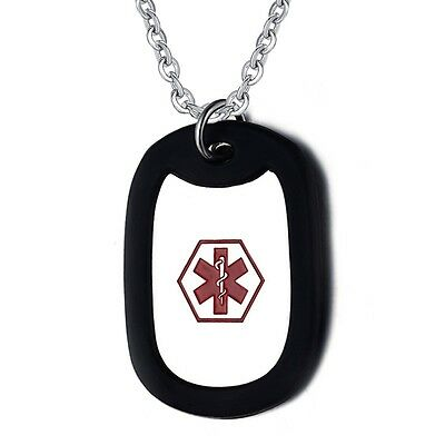 Free Engraving Stainless Steel Medical Alert Identification ID Necklace Dog Tag