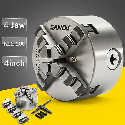 4 Jaw self centering Mini Lathe Chuck 100mm 4 inch + Reversable Jaw, Key Handle