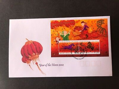Christmas Island 2002 Year Of The Horse First Day Cover Mini Sheet