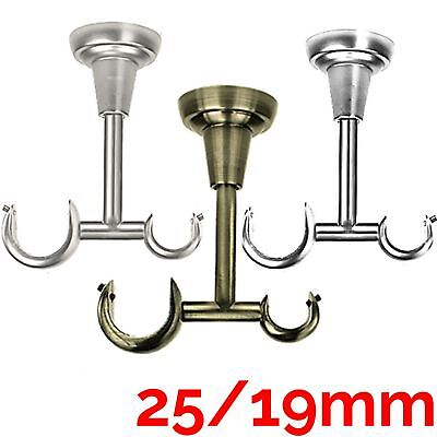 Metal Curtain Pole 1pc Classic 25/19 Ceiling Bracket to Fit 25&19mm Ø Poles