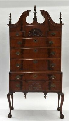 18C New England Chippendale Flame Mahogany Highboy Lot 136