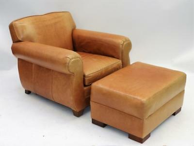 Restoration Hardware Brown Leather Chair Ottoman Lot 256