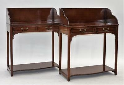 PR American Mahogany Two Drawer Butler Stands Lot 245