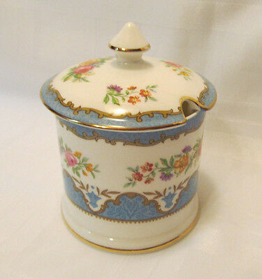 Crown Staffordshire LYRIC TUNIS BLUE Jam/Jelly/Marmalade Bowl with Lid