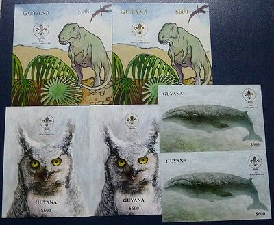 Guyana 1993 Pfadfinder Scouts Wal Dinosaurier Eule Silber Gold Block 263-68 MNH