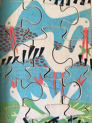 Antonio Vitali Jigsaw Puzzle wooden Toy - Storks Theme - Vintage Swiss Design