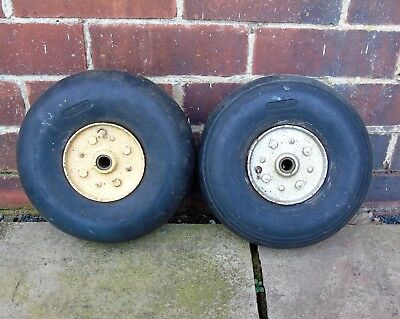 Pair of Vintage Static Conducting Rear Aircraft Wheels Spitfire? WW2?
