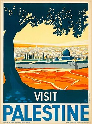 Visit Palestine Israel Bible Jerusalem Vintage Travel Art Poster Advertisement