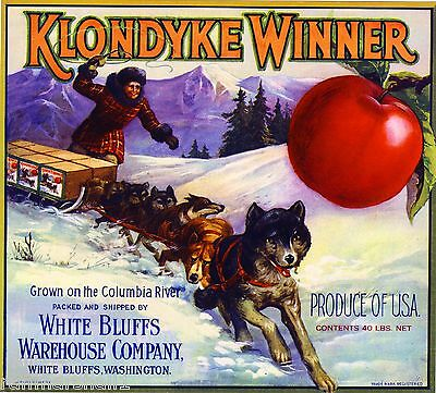 White Bluffs Washington Klondyke Winner Husky Dog Apple Fruit Crate Label Print