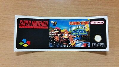 Nintendo SNES Donkey Kong Country 3 Replacement Label Decal Sticker precut