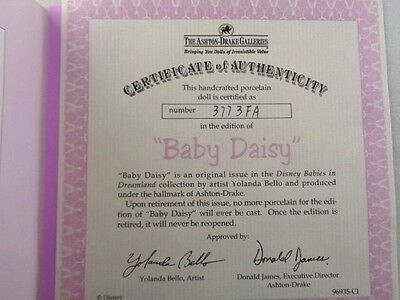 ASHTON DRAKE Galleries Disney Baby Daisy Authenticity Papers/Blanket misc23