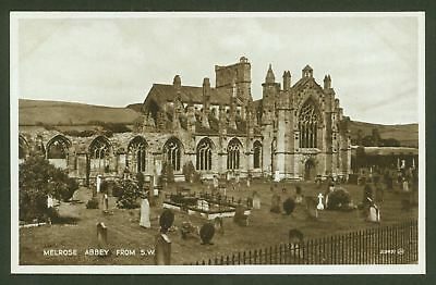 Melrose Abbey from S.W. - Roxburghshire - Valentine's Real Photographic Postcard