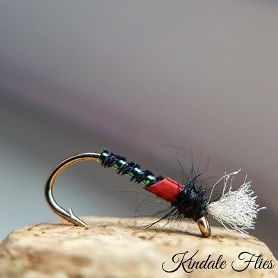 holo red arse 3x sz 12 Sunburst  cheeked quill buzzer Fly Fishing Trout Flies