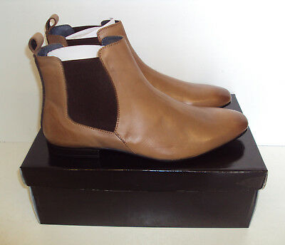 RRP £45 Men's Tan Leather Upper Slip On Ankle Chelsea Boots Shoes New Size UK 10
