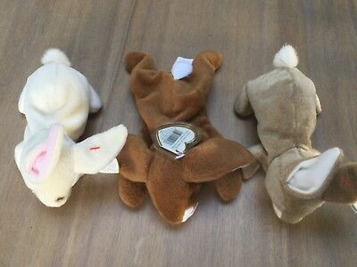 Lot of 3 Ty Beanie Babies  Bears.Nibbler, Nibbly and Ears