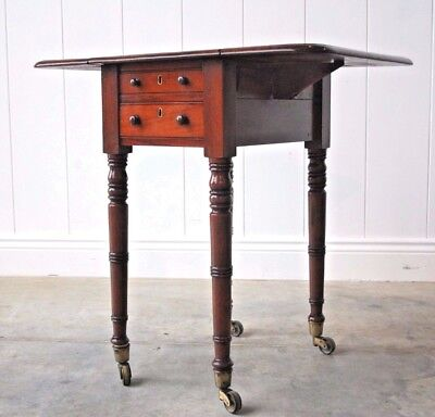 Antique Regency / William IV Mahogany Two Drawer Drop Leaf Work Table Side Table