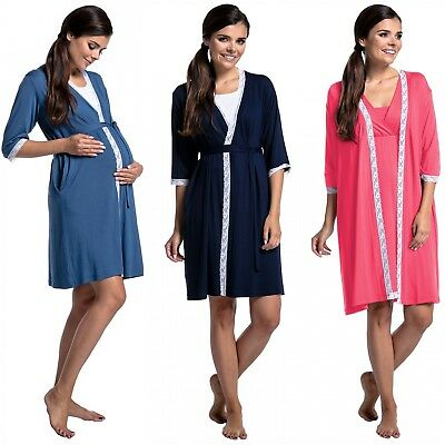 Zeta Ville - Women's Maternity Nursing 3/4 Sleeves Robe Lace Details Belt - 593c