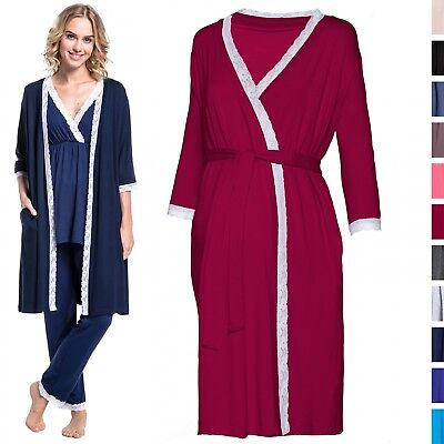 Happy Mama. Women's Maternity Pregnancy Robe 3/4 Sleeves Dressing-Gown Belt 593p