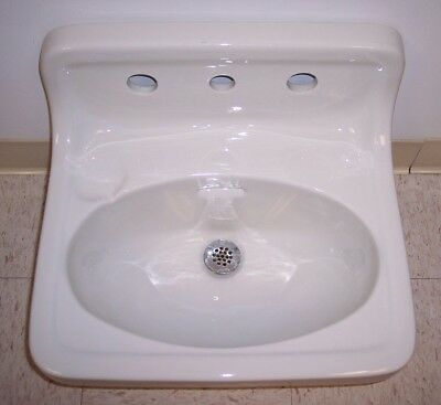 Vintage Antique Bathroom Sink High Back Wall Mount Porcelain Ceramic 'Standard'