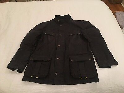 Barbour International Men's Slim Enfield Waxed Jacket - Large Black MWX0690BK11