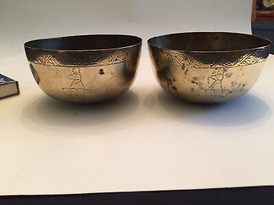 Pair of Vintage Brass Small Decorative Bowls