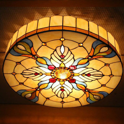 2-light Tiffany Vintage Light Stained Glass Flush Mount Ceiling Lighting Fixture