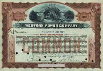 Western Power Company 1911 New Jersey American Bank Note New York Derorative