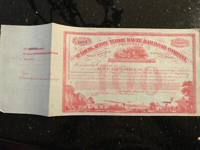 Antioque Unissued Stock Certificate St Louis, Alton, Terre Haute Railroad 1880's
