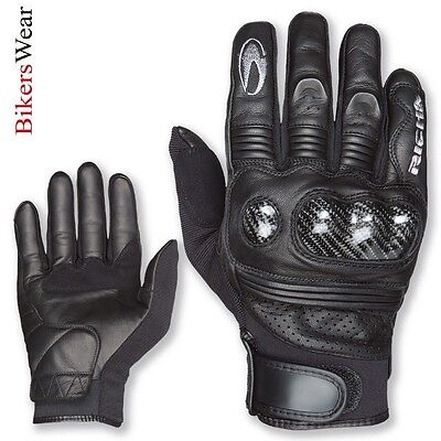 Richa Protect - Short Summer Gloves Black Leather Motorcycle/Motorbike