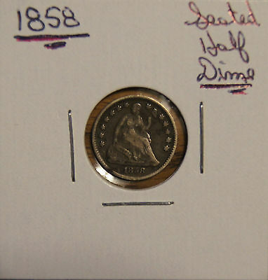 1858 Seated Liberty Half Dime-5C - F -Fine Details Small Rim Ding At 7:00