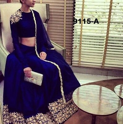Nevi blue Lehenga Choli Indian Designer Bridal Pakistani Sari Fancy Bollywood 11