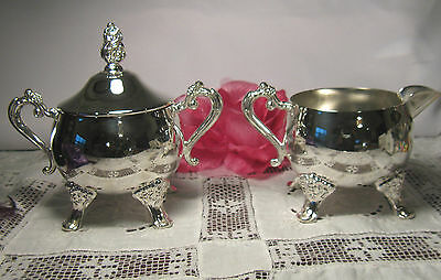 3 PCS~SUGAR w/ LID & CREAMER ~SILVERPLATED~ESTATE SALE~ FOOTED~SMALL ~CATERING