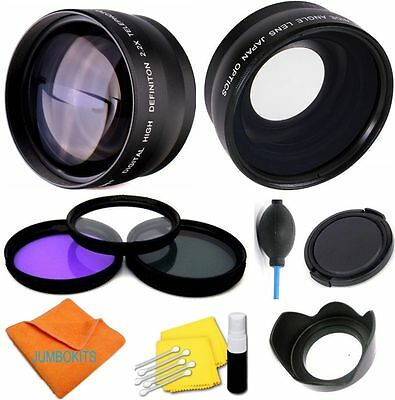 58mm HD 3 LENS WIDE ANGLE +ZOOM+MACRO +FILTER KIT FOR CANON EOS REBEL T3I T3