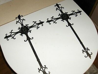 2 Large wrought iron fence gate rustic metal cross salvage piece 26 1/2 x 16 ""