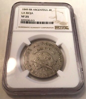 1849 Argentina 4 reales La Rioja NGC VF25 PCGS graded silver 4R