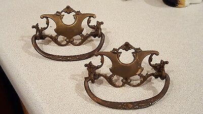 2 Antique Solid Brass Ornate Plate Bail Pull Handle Drawer Hardware