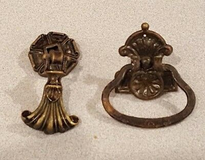 2 Antique Solid Brass Ornate Plate Bail Pull Handle Drop Pull