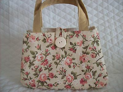"""Tan with pink roses,with tan handle, little girls handbag,7"""" x 5"""" x 2"""",button"""