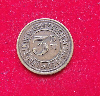 Leeds Indus Co-op Soc 3 Pence Token Nice example see pictures