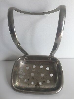 Claw foot Bath tub antique soap dish brass nickel plated signed dated 1902