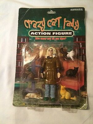 """Crazy Cat Lady 5.5"""" Action Figure With 6 Cats By Accoutrements New In Package"""