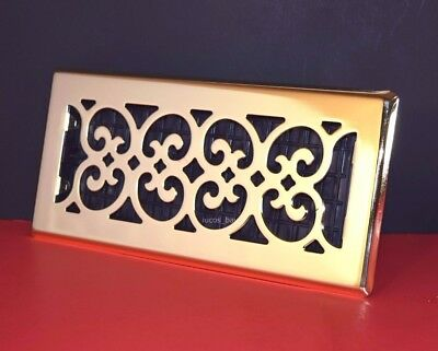 Decor-Grates-Floor-Register-Air-Vent-Scroll Plated Satin Brass-4x10, 4x12, 2x12.