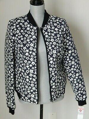 81e55f72691 NWT  275 Women s HELENE BERMAN LONDON BOMBER JACKET COTTON BLEND NAVY LARGE