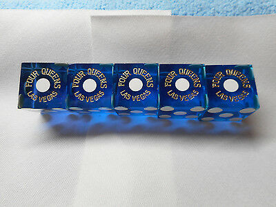 Stick of 5 FOUR QUEENS DLV Casino Dice - Clear Blue, Matching #s