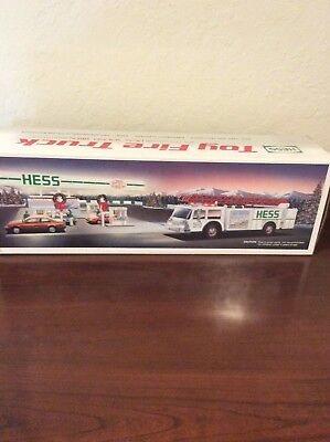 1989 Hess White Fire Truck Bank. New in Box.